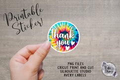 Thank You Tie Dye Printable Sticker Product Image 1