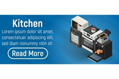 Kitchen concept banner, isometric style Product Image 1