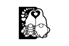 Papercut Romantic Gnome Couple with Hearts Card Cover Design Product Image 2
