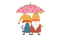 valentine couple gnomes with umbrella Product Image 2