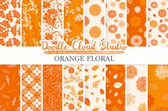 Orange Floral digital paper, Floral pattern Flowers Dhalia Leaves Damask Calico background, Instant Download, Personal & Commercial Use Product Image 1