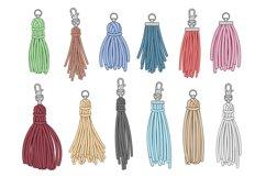 Tassels accessories. Leather fringe tassel trinket, handbag Product Image 1