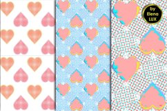 Glitch and halftone hearts seamless patterns Product Image 1