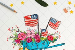 Patriotic American flag wagon, whimsical Sublimation design Product Image 2