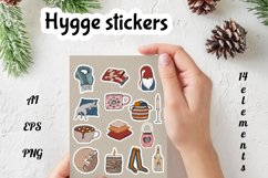 Vector Hygge christmas stickers bundle, Digital clipart! Product Image 1