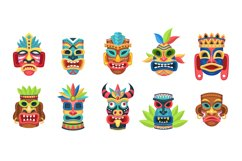 Ethnic masks. Ritual, ceremonial tribal mexican indian or af Product Image 1