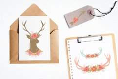 Antlers, deers and flowers Graphics and illustrations, vecto Product Image 2