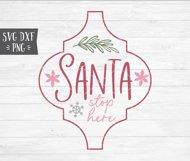 """Santa Stop Here"" Arabesque Tile Christmas Ornament SVG Product Image 2"