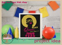 Black queens are born in June birthday t shirt design Product Image 6