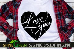 Valentines Day SVG - Love You Heart, Couple Gift Idea Product Image 1