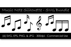 Music Note Silhouette SVG Clipart Bundle Product Image 1
