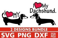 2x Love Dachshund Bundle svg, Dog Breed svg, Dog On Board Product Image 1