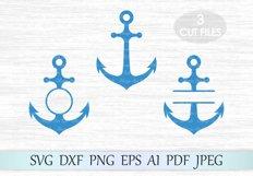 Anchor svg, Anchor monogram svg, Anchor frames svg, Anchor vector, Anchor cut, Anchor clipart, Anchor circle monogram, Anchor cut file Product Image 1