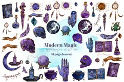 Magic, Occult, Witchcraft, Spiritual watercolor clipart set. Product Image 2