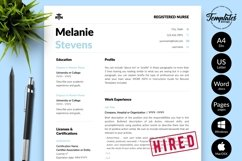 Nurse Resume CV Template for Word & Pages Melanie Stevens Product Image 1