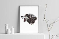 ZENTANGLE STYLIZED WOLF ANGRY HEAD Product Image 4