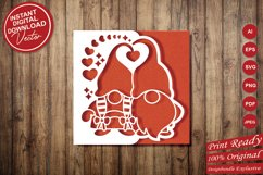 Papercut Romantic Gnome Couple with Hearts Card Cover Design Product Image 6