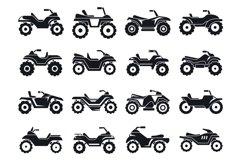 Race quad bike icons set, simple style Product Image 1