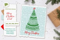 Merry Christmas card with Christmas tree SVG.PNG.JPG.EPS10 Product Image 1