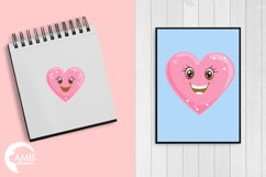 Valentine faces clipart, Heart emojis clipart, graphics illustrations AMB-1172 Product Image 5