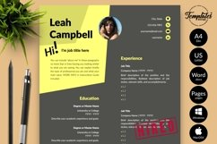 Modern Resume CV Template for Word & Pages Leah Campbell Product Image 1