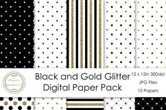 Black and Gold Glitter Digital Paper Pack Product Image 1