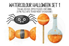 Watercolor Halloween Clip Art Set 1 Product Image 6