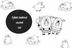 Pigs. Cute vector Stickers & Patterns Christmas graphic Pigs Product Image 4
