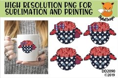 Patriotic Americana Faux Patchwork Sheep Sublimation Product Image 1