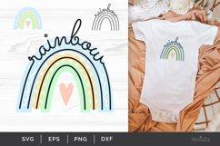 Rainbow SVG, Pastel Baby Rainbow, Line Art, Cut File Product Image 1