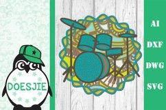Drumkit 3d svg layered mandala music instrument drum kit Product Image 3