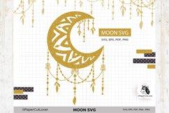Moon SVG Crescent Moon SVG Half Moon Paper Cut Boho Svg Product Image 4