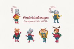 Forest animals on skates. Christmas watercolor clipart Product Image 2