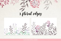 Watercolour floral borders& patterns Product Image 2