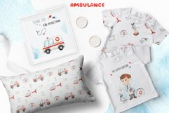 Watercolor Ambulance. Clipart, cards, seamless patterns Product Image 3