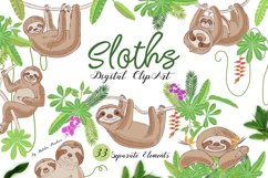 Sloths in Jungle Digital Clipart Product Image 1