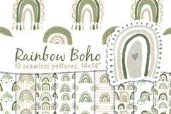 Boho Rainbow Digital Paper Neutral Product Image 1