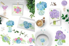 Watercolor Hydrangea Floral Clipart Product Image 3