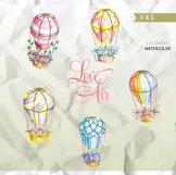 Air Balloons Romantic Wedding Digital, Watercolor Valentine Product Image 3