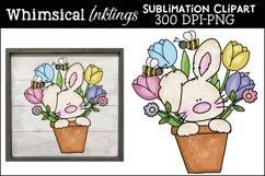 Tulip Pot Bunny Sublimation Clipart Product Image 1