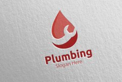 Plumbing Logo with Water and Fix Home Concept 42 Product Image 4