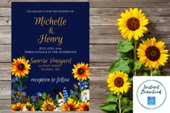 Sunflower and Blue Wedding Invitation Product Image 1