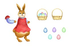 Easter Bunny Clipart with Basket of Eggs Product Image 3