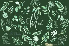 Watercolor Greenery Clipart in Neo Mint, Botanical Elements Product Image 3