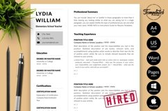 Teacher Resume CV Template for Word & Pages Lydia William Product Image 1