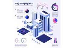 City smart infographic. Urban digital innovation future offi Product Image 1