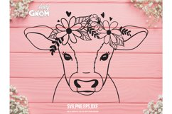 Cow SVG file, Cow with Flower Crown SVG, Cow cut file, Anima Product Image 1