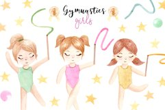 Watercolor Gymnastic Girls. Patterns and Cliparts Product Image 1