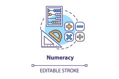 Numeracy concept icon. Mathematical calculations Product Image 1