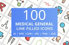 100 Medical General Filled Line Icons Product Image 1